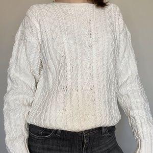 Ralph Lauren White Hand Knit Crew Sweater